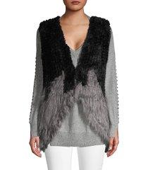 dolce cabo women's colorblock faux fur vest - black grey - size xs