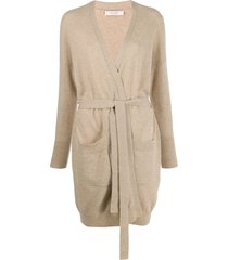 chinti and parker belted midi cardigan - neutrals