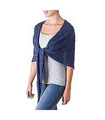 100% alpaca shawl, 'andean royalty in indigo' (peru)