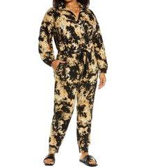 plus size women's open edit boiler long sleeve drawstring jumpsuit, size 3x - brown