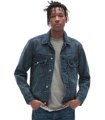 jaqueta jeans gap estonada bordada azul - kanui