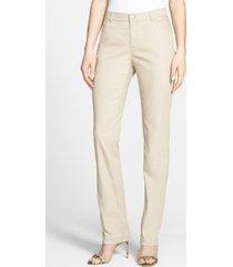 women's lafayette 148 new york 'primo denim' curvy fit slim leg jeans, size 6 - beige