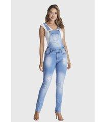 macacão jardineira hno jeans longa azul - feminino