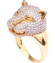 anel boca santa cabeça de tigre negro - ouro amarelo
