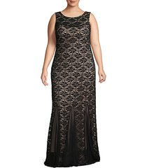 plus two-tone lace gown