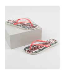 chinelo feminino havaianas slim animals estampado animal print onça rosa