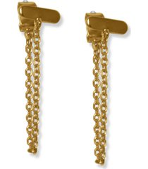 lucky brand gold-tone bar & chain front-and-back earrings