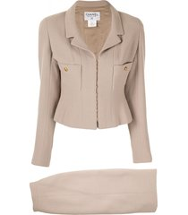 chanel pre-owned 1996s two-piece skirt suit - brown