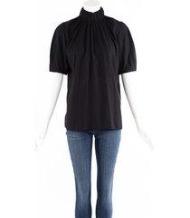 celine black silk short sleeve mock neck blouse black sz: s