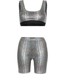beth richards kim snakeskin-print top and shorts set - metallic