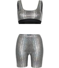 beth richards kim snakeskin-print top and shorts set - metallic