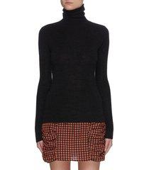 turtleneck open back merino wool sweater