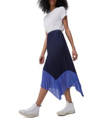 french connection ali pleated handkerchief-hem skirt