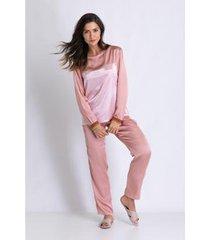 conjunto de pijama acuo longo de cetim fada feminino