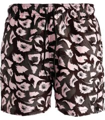 short estampado hoshwear animale preto e rosa
