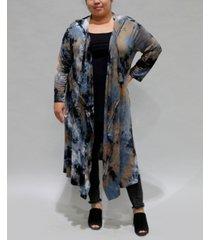 coin 1804 women's plus size tie dye 3/4 sleeve hoodie duster