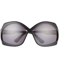tom ford cheyenne 68mm oversize butterfly sunglasses in shiny black /smoke at nordstrom