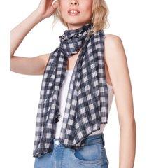 steve madden honeycomb textured plaid oblong scarf