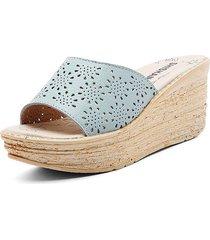 sandali con plateau in pelle cava