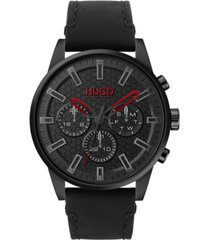 hugo men's #seek chronograph black leather strap watch 44mm