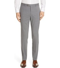 men's canali flat front classic fit solid stretch wool dress pants