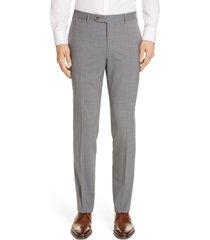 men's canali flat front classic fit solid stretch wool dress pants, size 42 us/ 60 eu x - grey