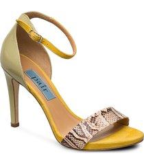 mix high heelcap sandal med klack gul apair