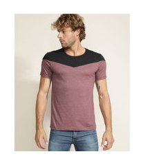 camiseta masculina com recorte manga curta gola careca vinho