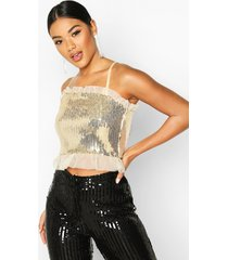 sequin + mesh ruffle cropped top, gold