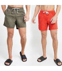 river island mens dark green and red swim shorts 2 pack