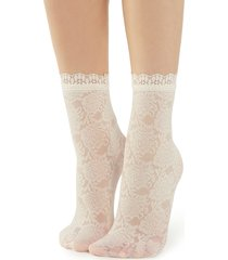 calzedonia - fancy floral-patterned socks with lace detail, one size, nude, women