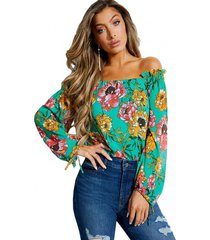 blusa off the shldr andi top verde guess