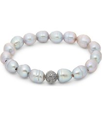 7-8mm baroque cultured freshwater pearl & diamond beaded bracelet