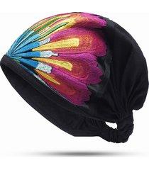 berretto da donna in lino con ricamo in cotone berretto in cotone vintage con cappuccio elastico traspirante