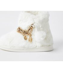 river island girls white faux fur ri chain bootie slippers