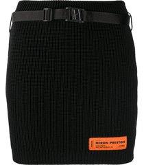 heron preston ribbed knit mini bodycon skirt - black