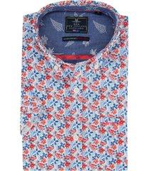 nza shirt makaroro blauw rood geprint