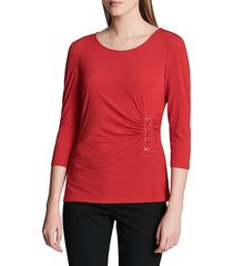 three-quarter-sleeve ruched top