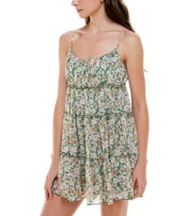trixxi juniors' tiered floral fit & flare dress