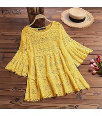 zanzea camisa de mujer con mangas de campana tops detalle de encaje blusas ahuecadas blusa de ganchillo suelta -amarillo