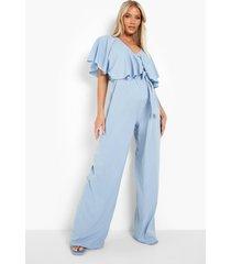 zwangerschap wide leg jumpsuit met franjes, blue