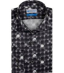 bos bright blue overhemd met zwart-witte print 7-13/0020