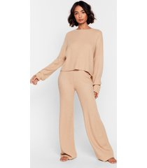 womens knit alone sweater and wide-leg lounge set - oatmeal