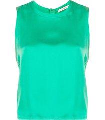 alice+olivia satin sleeveless vest top - green