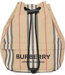 burberry logo print icon stripe drawcord pouch - neutrals