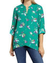 women's gibson x international women's day erin cross front tunic blouse, size small - green