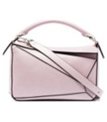 loewe bolsa tiracolo puzzle pequena de couro - rosa