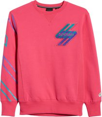 men's superdry sportstyle energy boucle men's crewneck sweatshirt, size xxx-large - pink