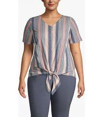 lane bryant women's buttoned tie-front top 14 beloved stripe