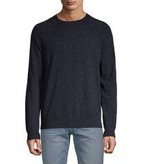 flecked long-sleeve cotton & wool sweater